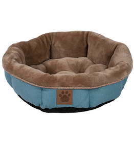 Snoozzy Snz Rustic Elegance Round Shearling Bed Teal 17x4.5""