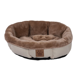 Snoozzy Snz Rustic Elegance Round Shearling Bed Buff 17x4.5""