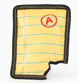 Zippy Paw Z-Stitch Squeaker Toy Yellow Notepad