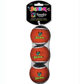 Spunky Pup Squeaky Tennis Balls MED 3 pk