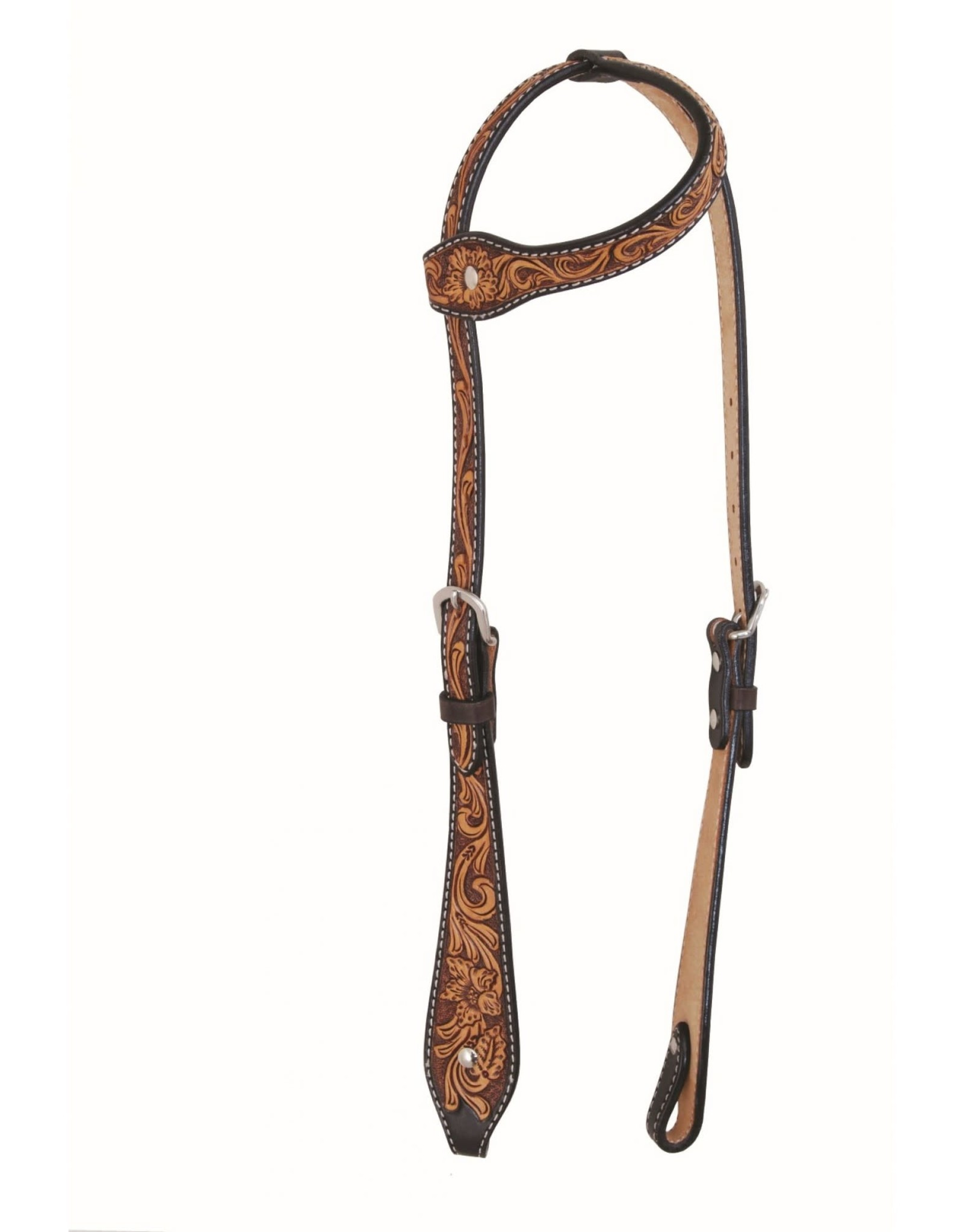 Western Rawhide By Jim Taylor Western Rawhide Tear Drop One Ear Headstall Floral Two-Tone