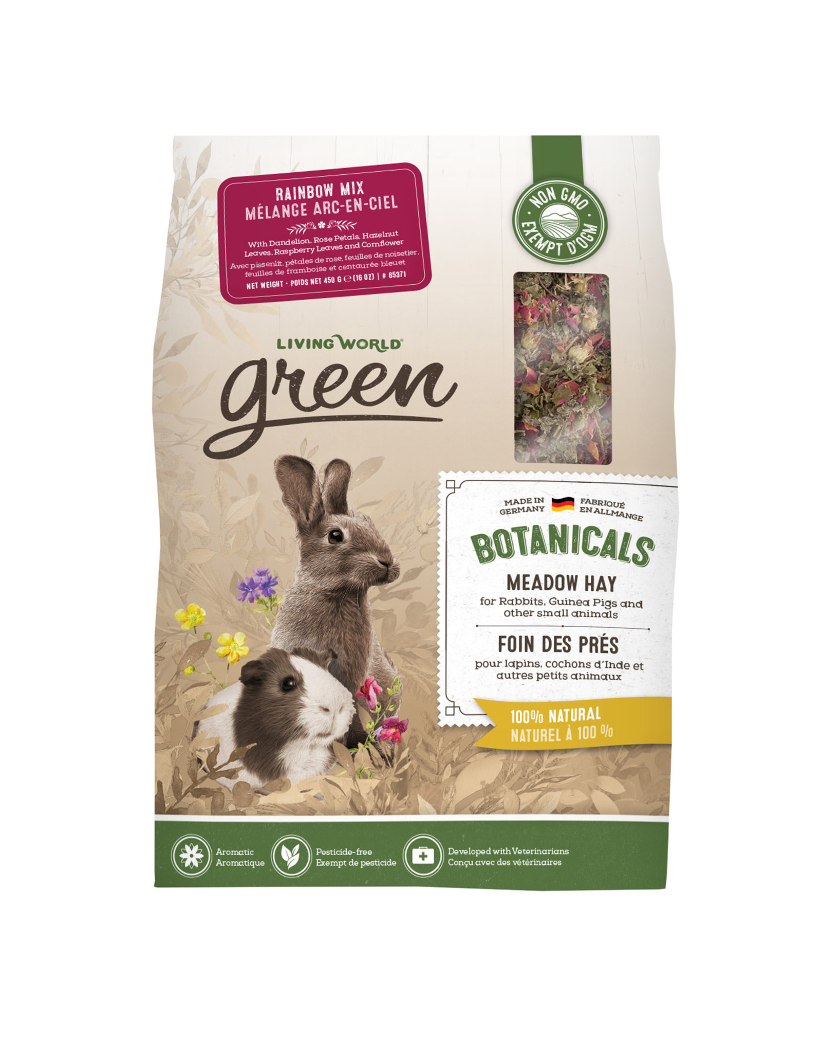 LIVING WORLD Living World Green Botanicals Meadow Hay - Rainbow Mix - 450 g