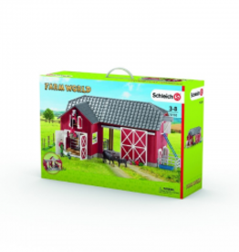 SCHLEICH FARM WORLD - LARGE RED BARN w/ANIMALS & ACC