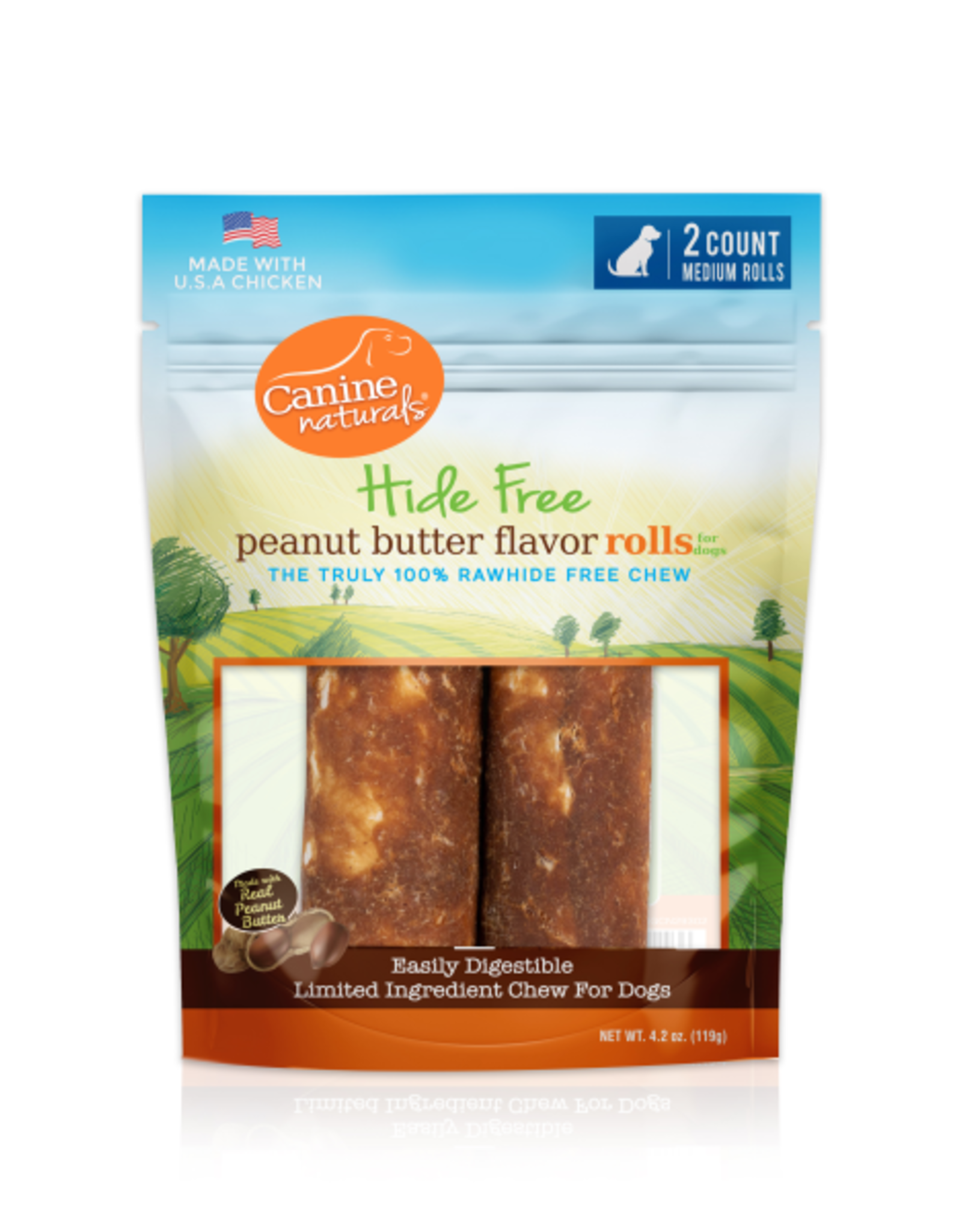 "Canine Naturals Canine Naturals Hide-Free Peanut Butter Rolls Medium 4"" 2 Pk"