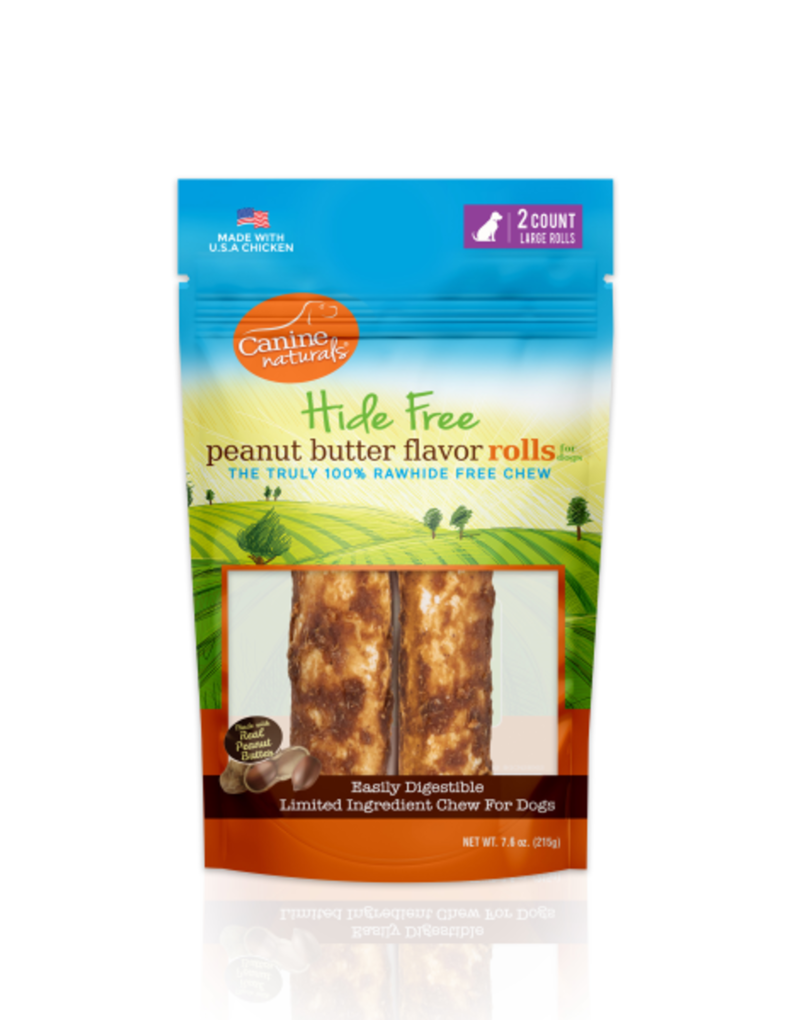 """Canine Naturals Canine Naturals Hide-Free Peanut Butter Rolls Large 7"""" 2 Pk"""