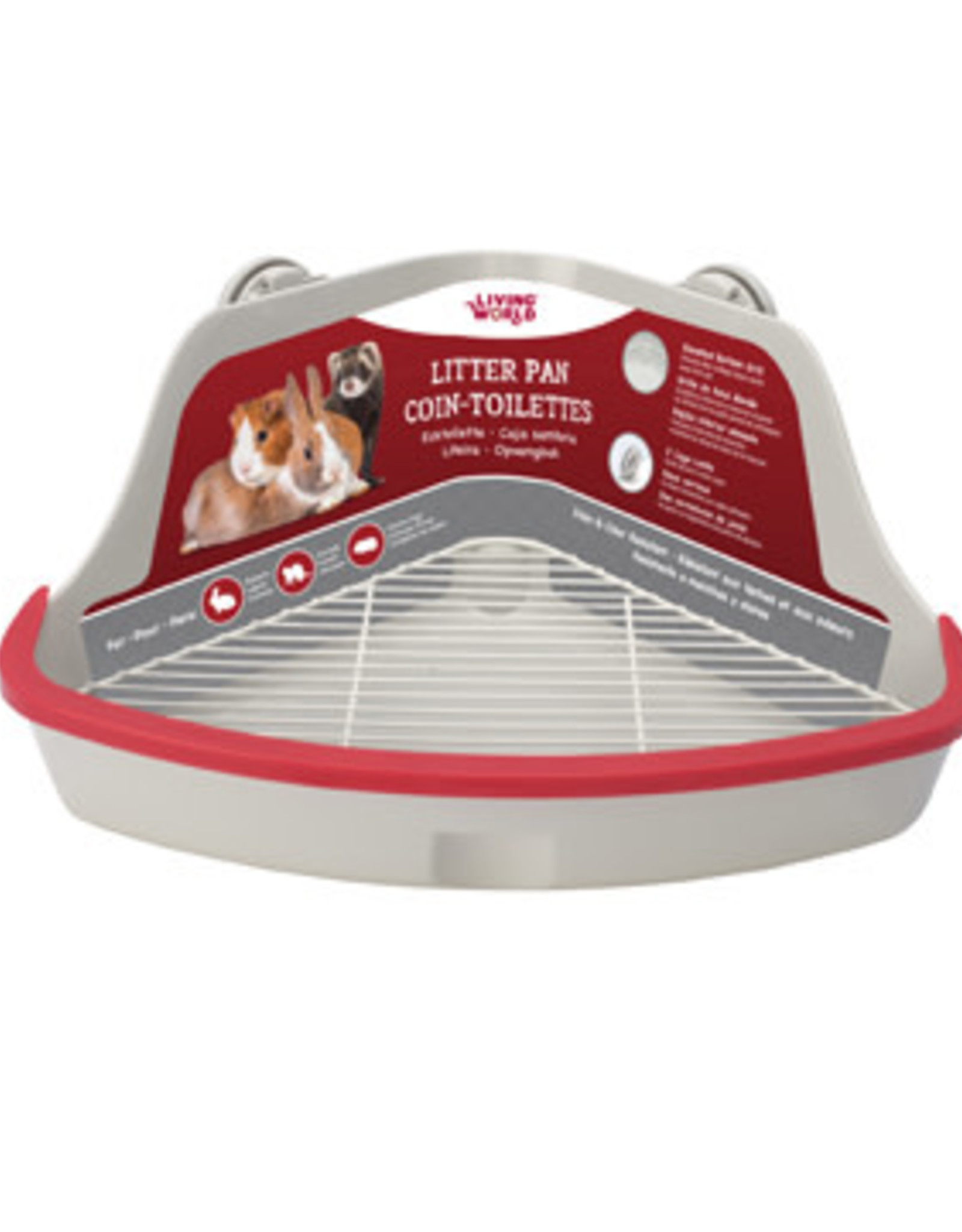LIVING WORLD Living World Small Animal Corner Litter Pan - Gray - Large - 41.5 cm L x 29 cm W x 20 cm H (16.3 x 11.4 x 7.8 in)