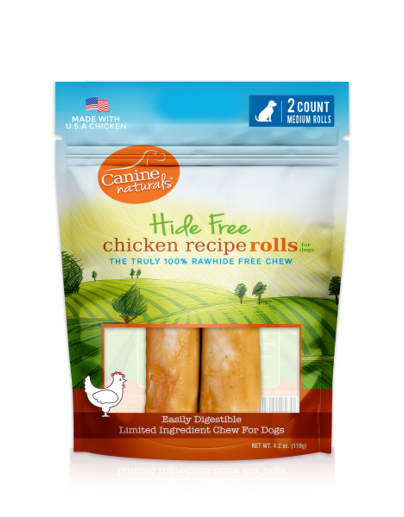 "Canine Naturals Canine Naturals Hide-Free Chicken Rolls Medium 4"" 2 Pk"