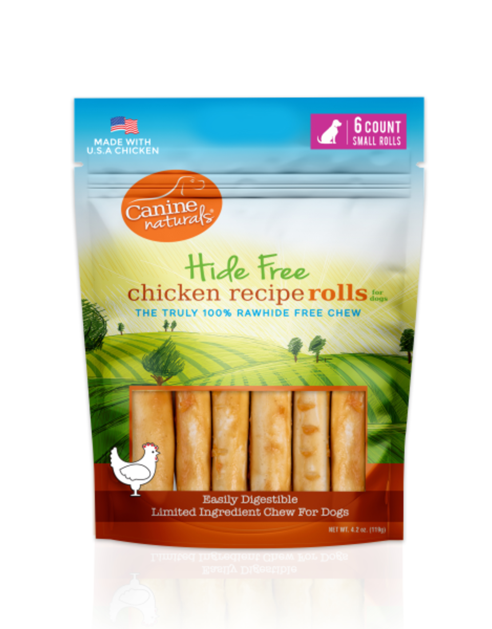 """Canine Naturals Canine Naturals Hide-Free Chicken Rolls Small 2.5"""" 6 Pk"""