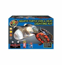 ZOO MED LABORATORIES Zoo Med Aquatic Turtle Uvb and Heat Lighting Kit with Mini Combo Dome 50w Halogen 13w Reptisun