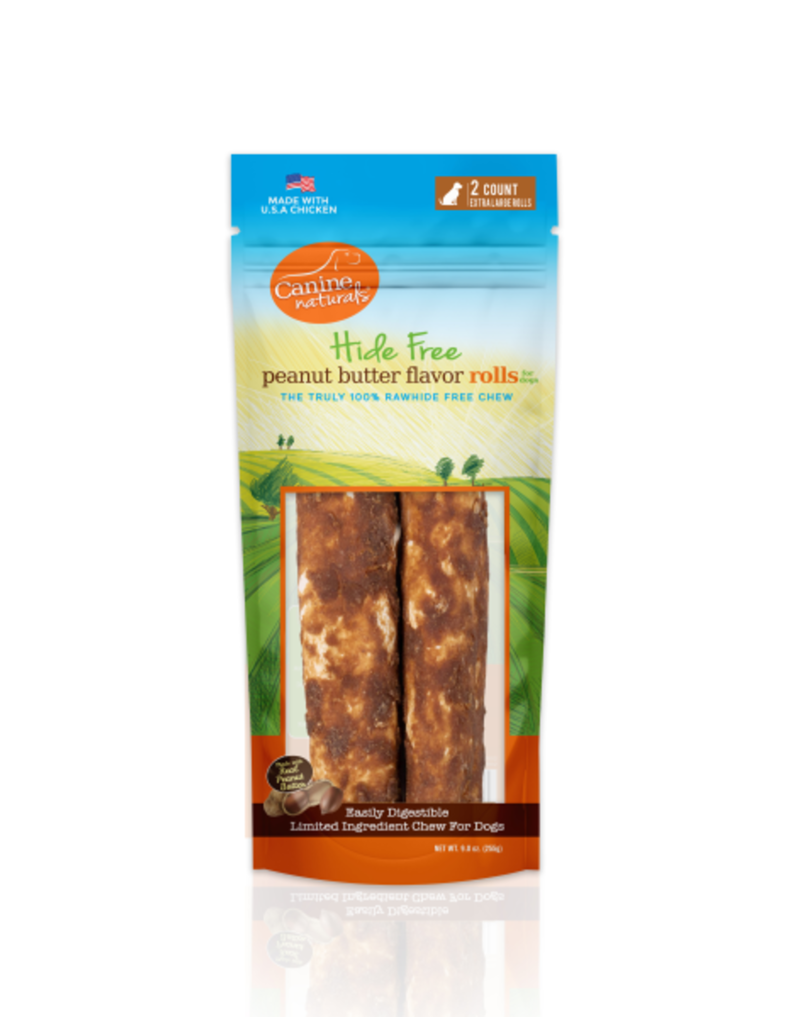 "Canine Naturals Canine Naturals Hide-Free Peanut Butter Rolls XLarge 10"" 2Pk"