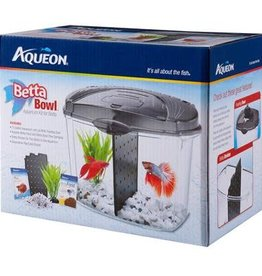 AQUEON Betta Bowl Starter Kit Black