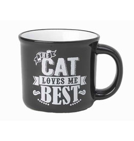 Petlogic Cat Loves me Best Black Mug 16oz