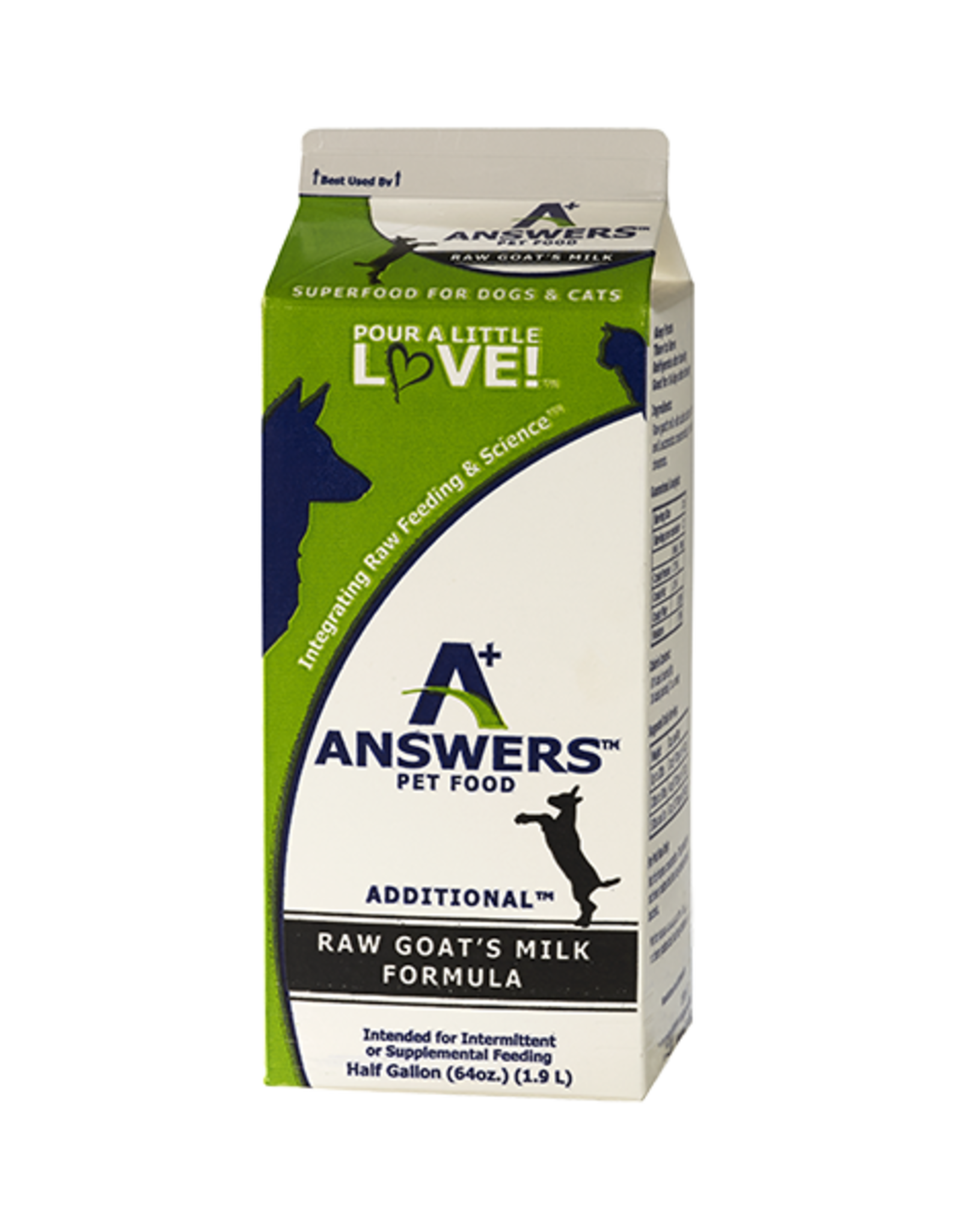 Answers Answers Additional Raw Goat Milk Formula Half Gallon / 64 oz