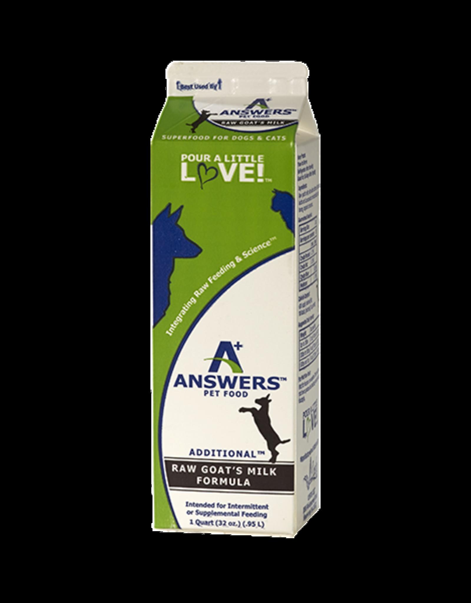 Answers Answers Additional Raw Goat Milk Formula Quart / 32 oz