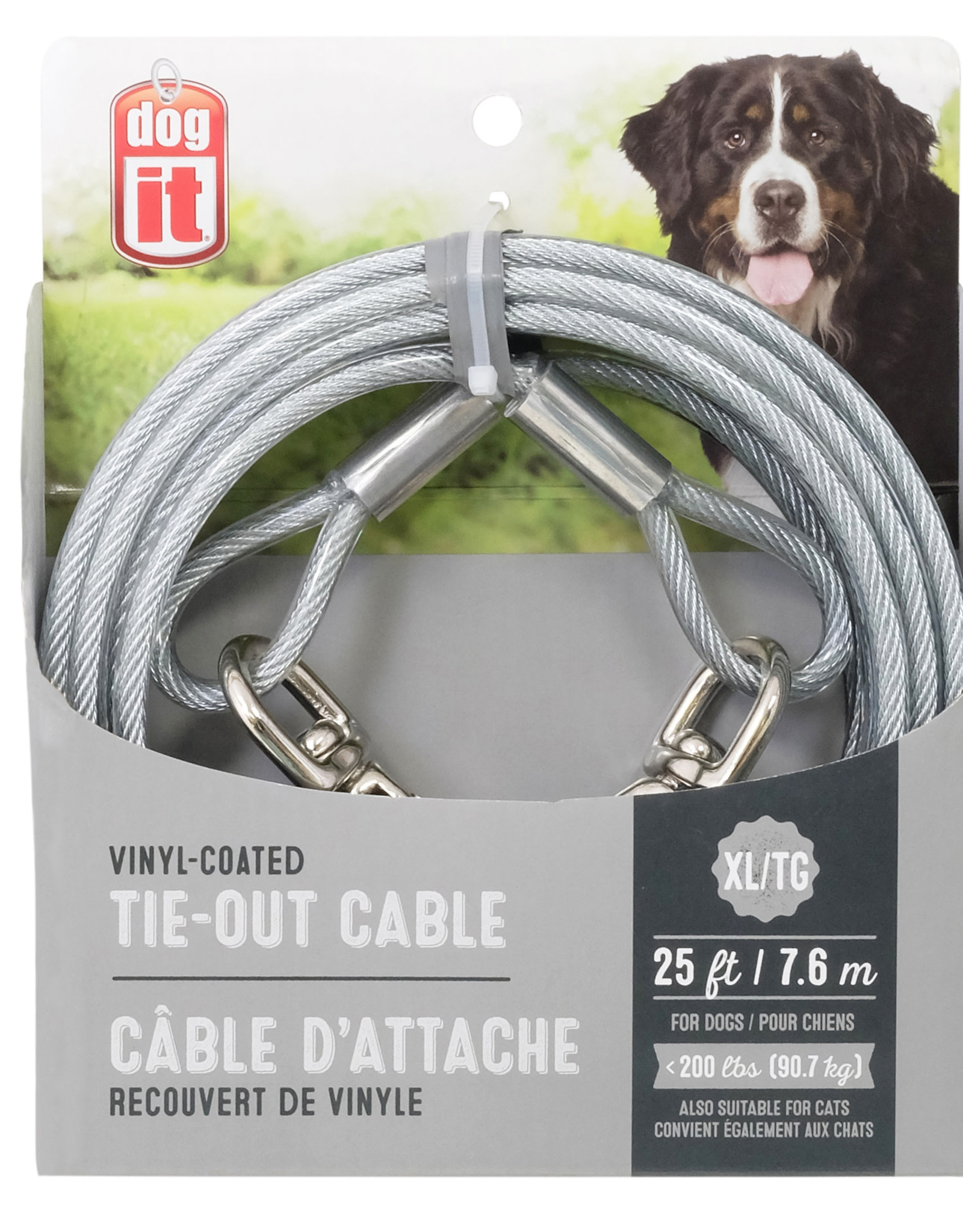DogIt Dogit Tie-Out Cable, X-Large, 25', Clear