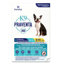 K9 Praventa K9 Praventa 360 Flea & Tick Treatment - Medium Dogs 4.6 kg to 11 kg - 3 Tubes
