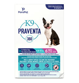 K9 Praventa K9 Praventa 360 Flea & Tick Treatment - Medium Dogs 4.6 kg to 11 kg - 6 Tubes