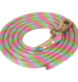 """Mustang Poly Lead Rope with Bull Snap - Pink Aqua Lime 5/8"""" x 9' w/1"""""""