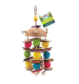 LIVING WORLD Living World Tropical Trove Coconut with Wicker Balls Bird Toy