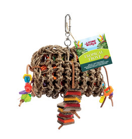 LIVING WORLD Living World Tropical Trove Foraging Pouch with Wood Bird Toy