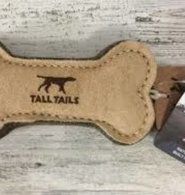 """Tall Tails Tall Tails 6"""" Bone Natural Leather & Wool Dog Toy"""