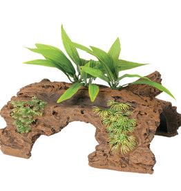 MARINA Marina Naturals Malaysian 1/2 Log Driftwood w/Plants, Large