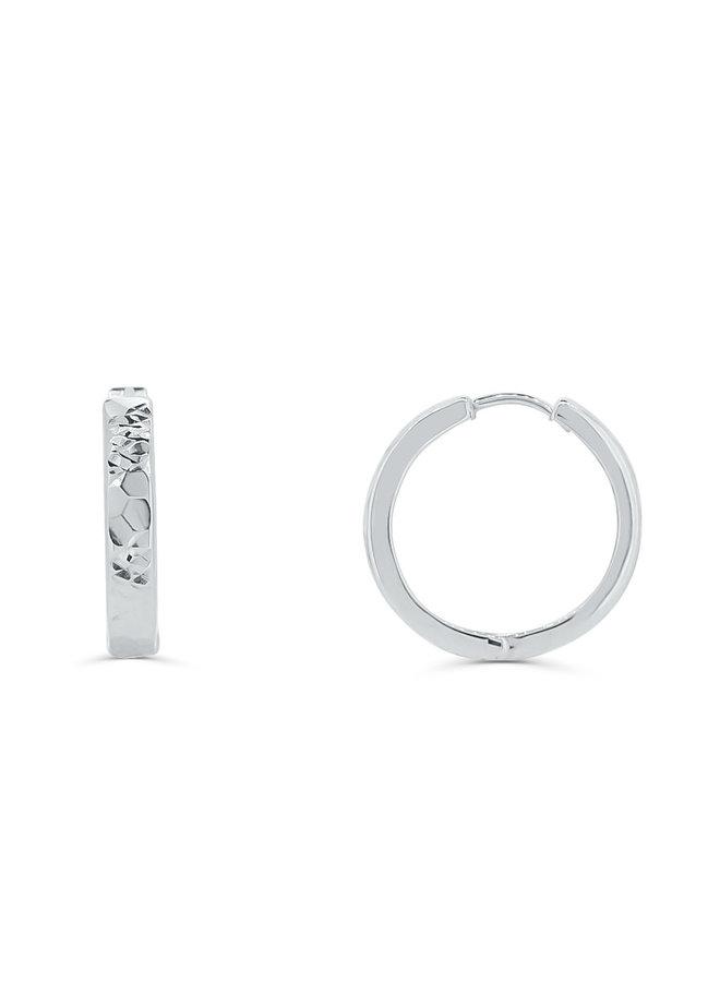 Boucle d'oreille huggies 10k blanc coupe diamanté 17mm