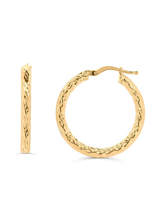 Boucle d'oreille anneau 10k jaune coupe diamanté