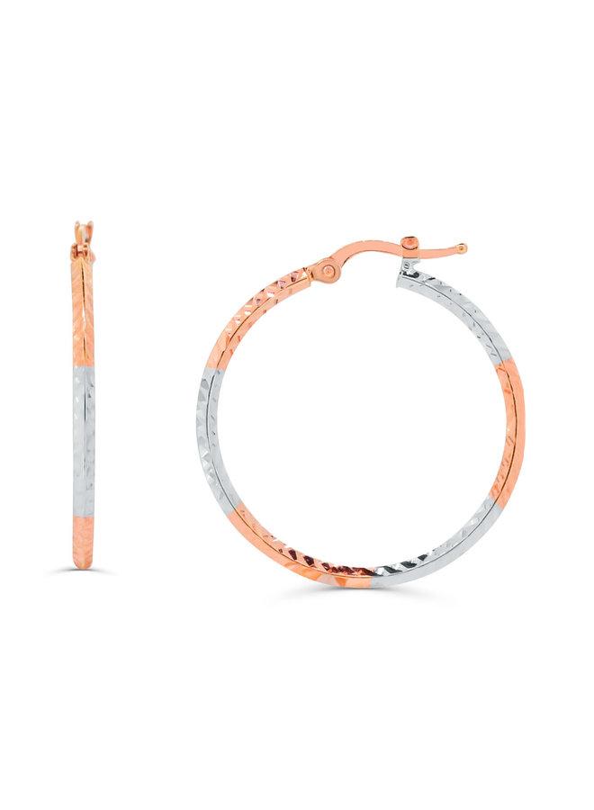 Boucles d'oreilles anneaux 2 tons 10K avec coupe diamant 25MM