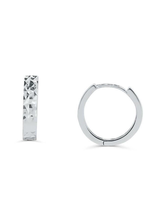 Boucle d'oreille huggies 10k blanc coupe diamanté 13mm