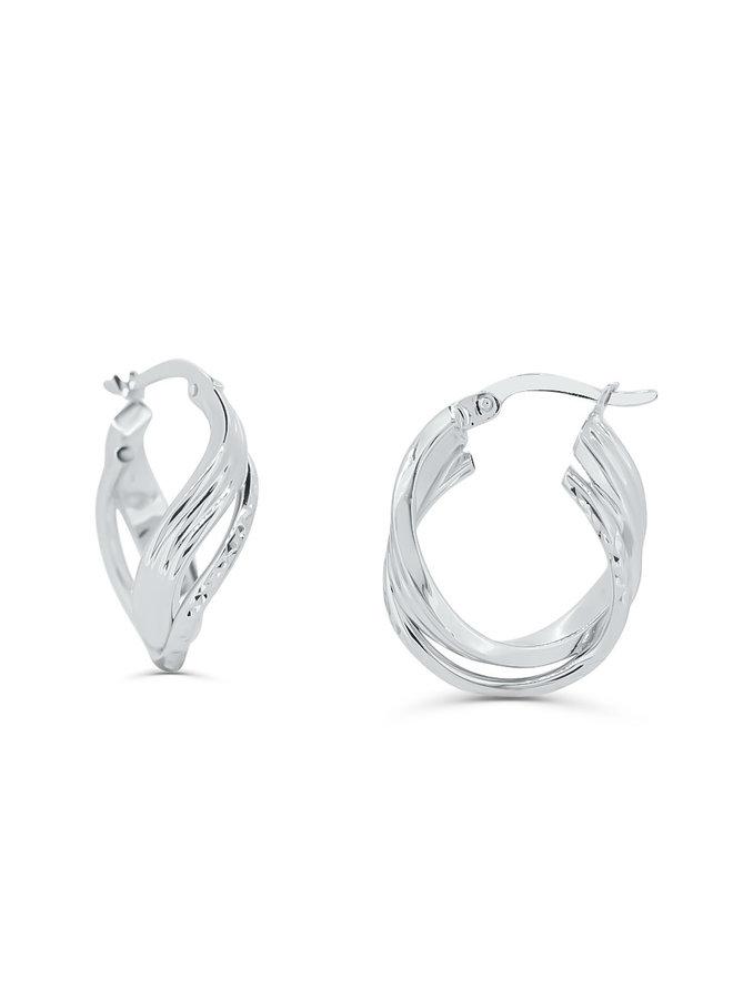 Boucle d'oreille anneau 10k blanc twister coupe diamanté 17mm