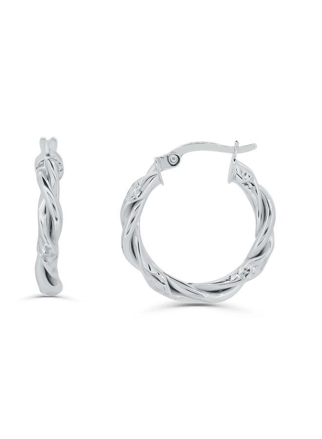 Boucles d'oreilles torsadées anneaux 10K
