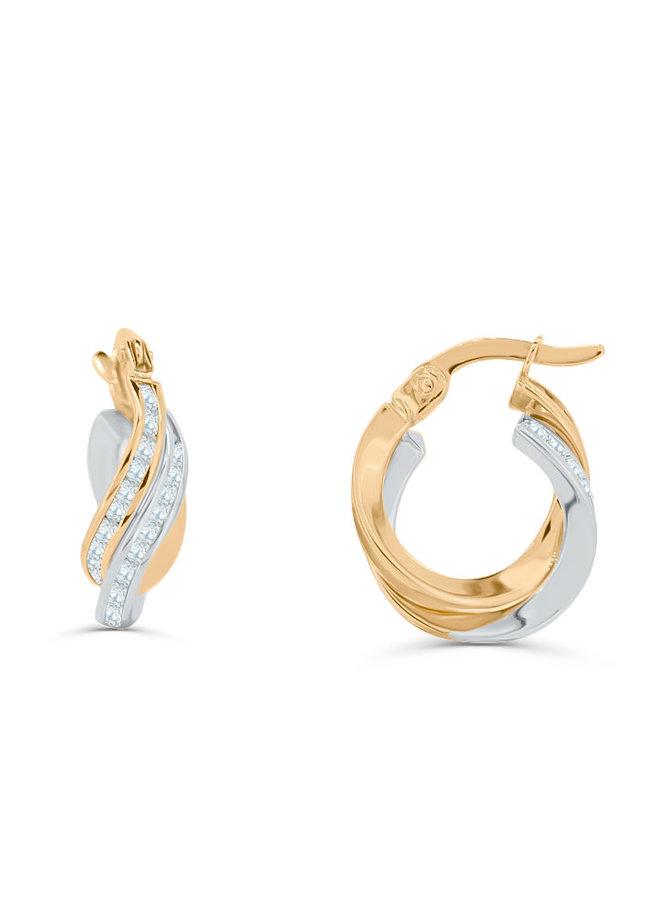 Boucles d'oreilles anneaux avec zircons 10K