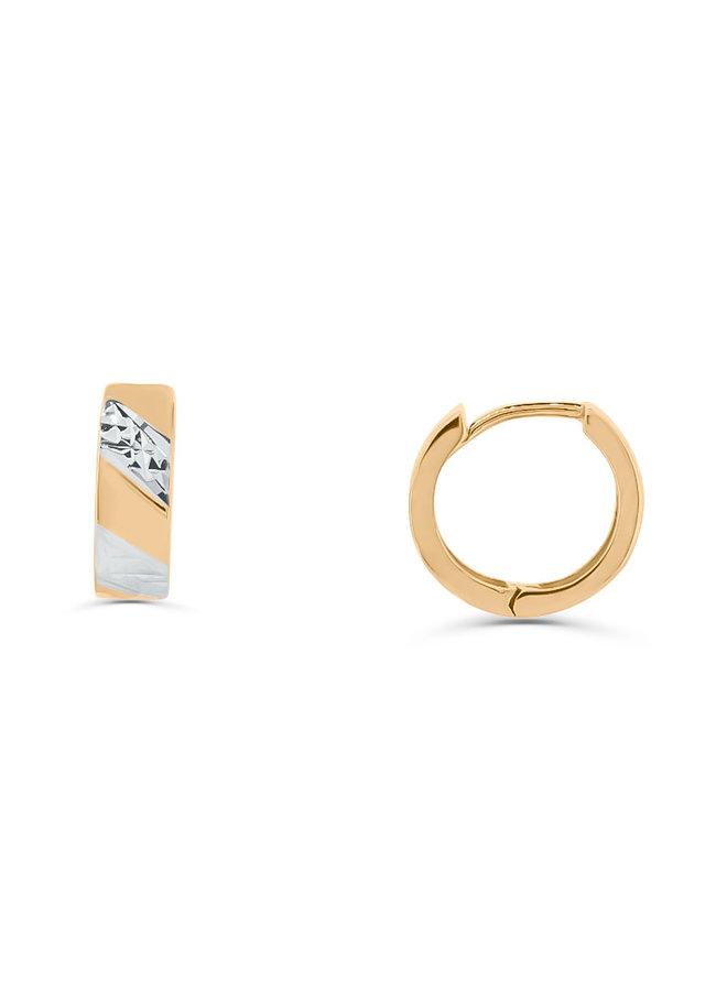 Boucle d'oreille huggies 10k 2tons coupe diamanté