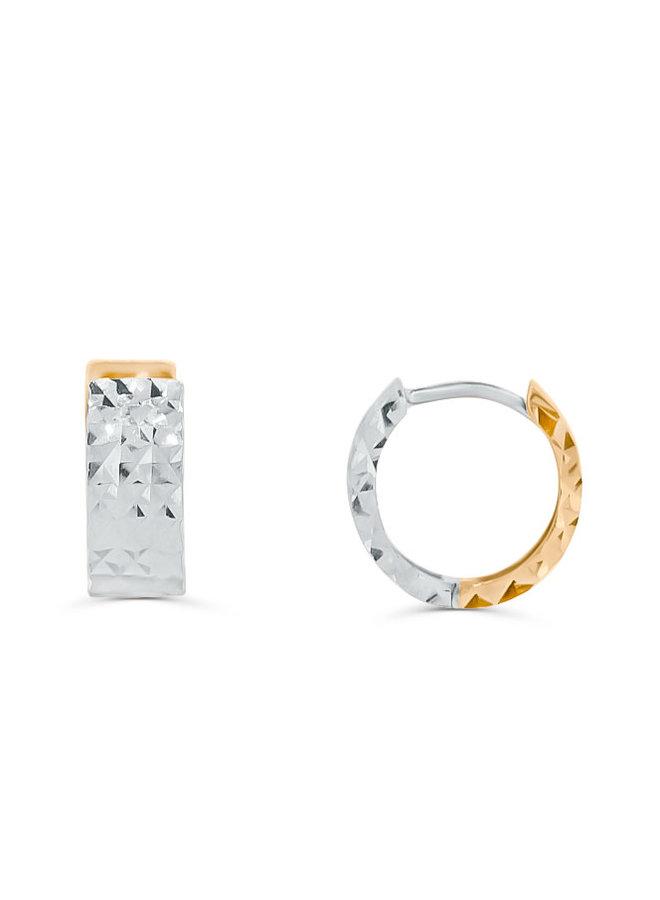 Boucle d'oreille huggies 10k 2 tons coupe diamanté 12mm