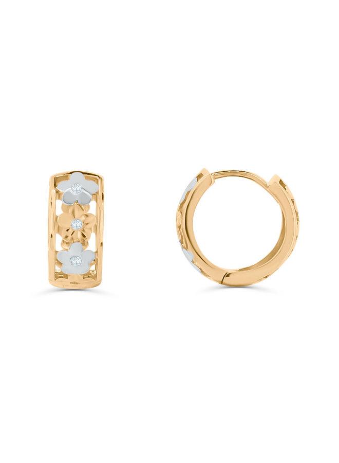 Boucles d'oreilles anneaux style fleur 2T 10K
