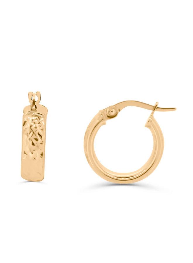 Boucles d'oreilles anneaux avec coupe diamant 10K  or jaune