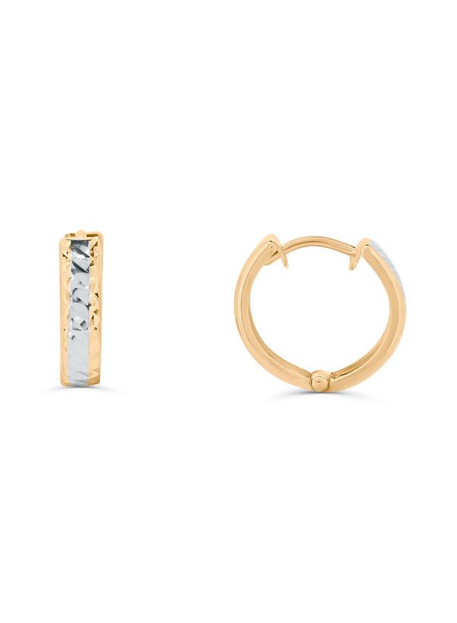 Boucle d'oreille huggies 10k 2 tons coupe diamanté 2.5mm
