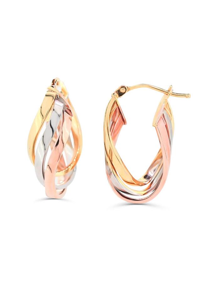 Boucles d'oreilles anneaux torsadées 3T 10K