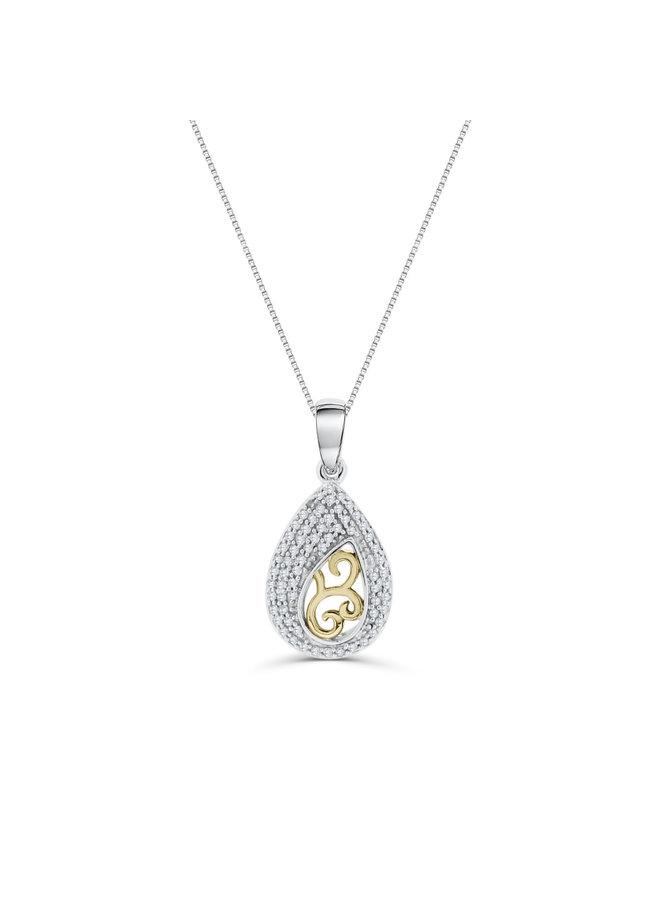 Pendentif 10k 2 tons diamant 0.20ct totale chaine incluse