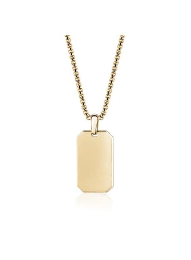 Pendentif plaque en or avec chaîne de 26''