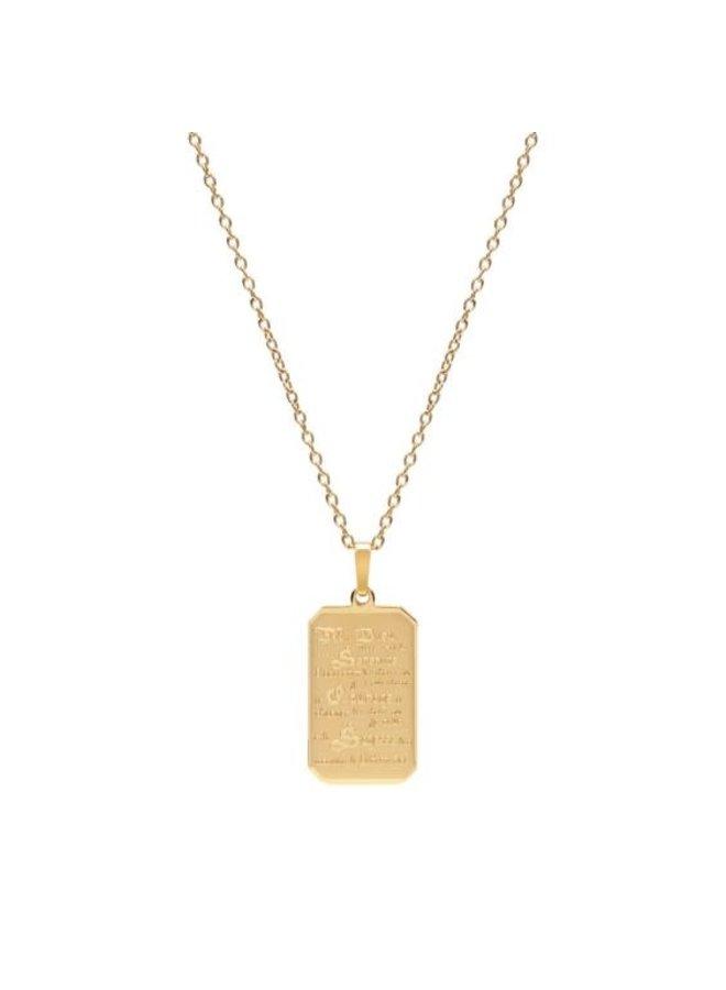 Pendentif prière de serenité acier doré 24'' chaine incluse