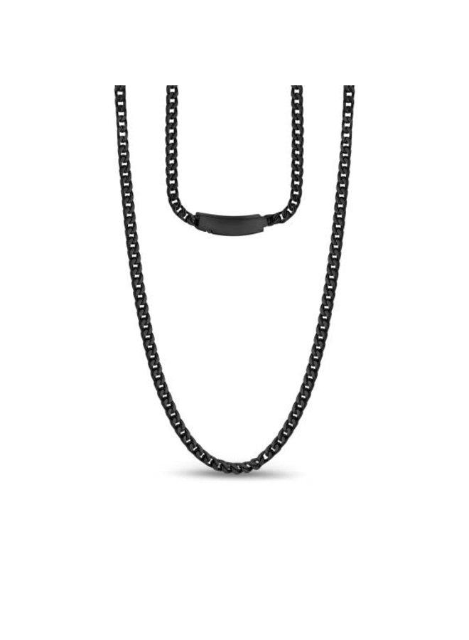 Collier franco en acier noir de 3mm 20''