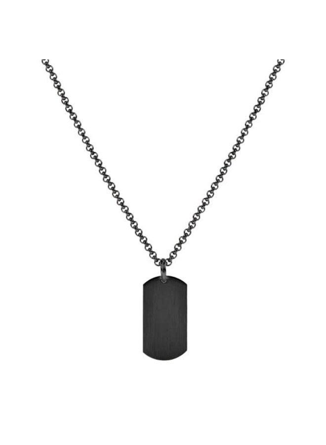 Pendentif plaque acier noir 30'' chaine incluse