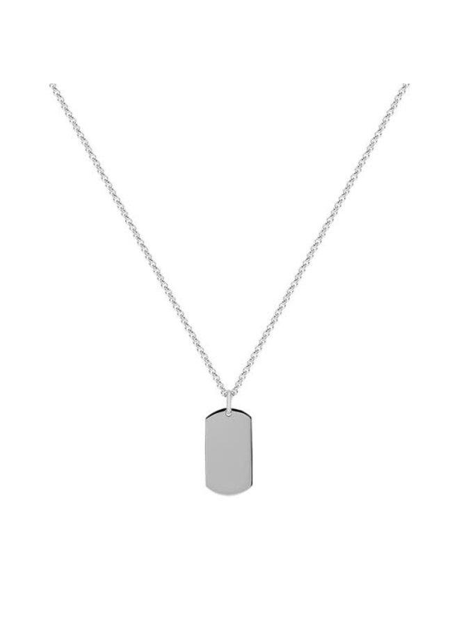 Chaîne acier avec pendentif plaque uni