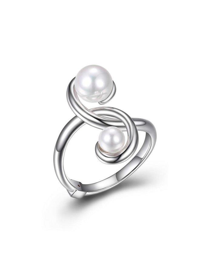 Bague pearl .925 twist 2 perles blanche