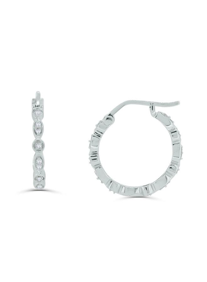 Boucles d'oreilles anneaux diamants or blanc 10k
