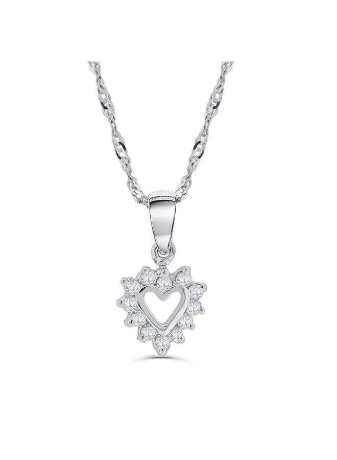 Chaîne et pendentif 10k blanc coeur
