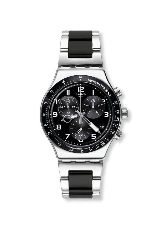 Swatch speed up acier 2 tons fond noir chronographe 49mm