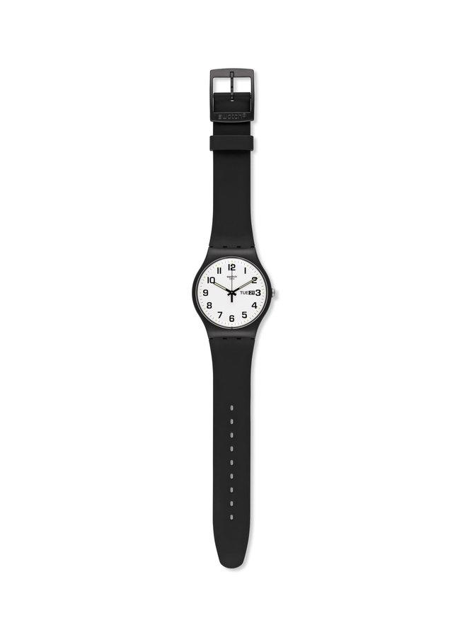 Swatch twice again fond blanc bracelet silicone noir